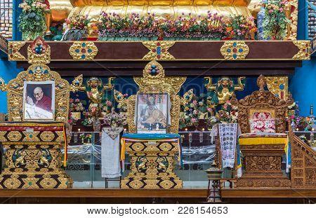 Coorg, India - October 29, 2013: Inside Padmasambhava Vihara Of Namdroling Buddhist Monastery. Two G