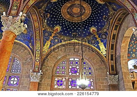 Jerusalem, Israel - September 20, 2017: The Interior Of The Church Of All Nations (basilica Of The A