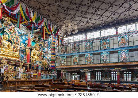 Coorg, India - October 29, 2013: Inside Padmasambhava Vihara Of Namdroling Buddhist Monastery. Right