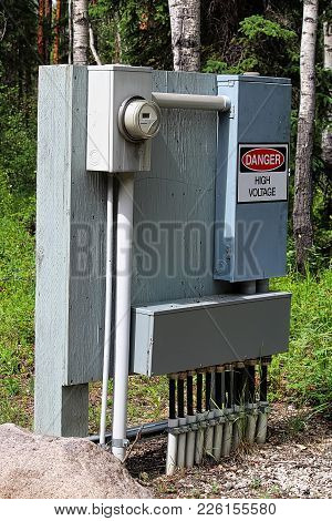 A Large Electrical Box At A Campground.