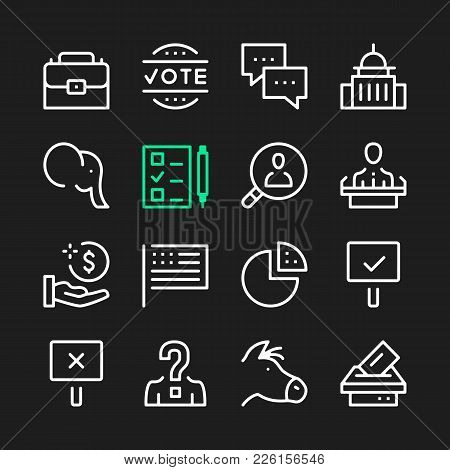 Government Line Icons. Modern Graphic Elements, Simple Outline Thin Line Design Symbols. Vector Icon