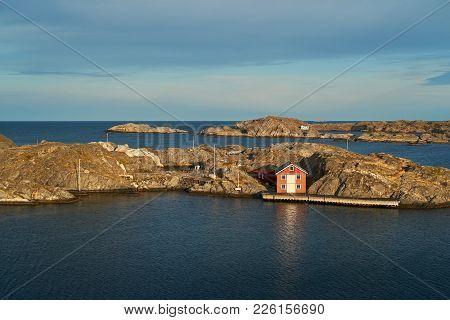 Sea Landscape Of Rocky Coastline Of The Southern Part Of Sweden. Southern Coastline Of Sweden With V