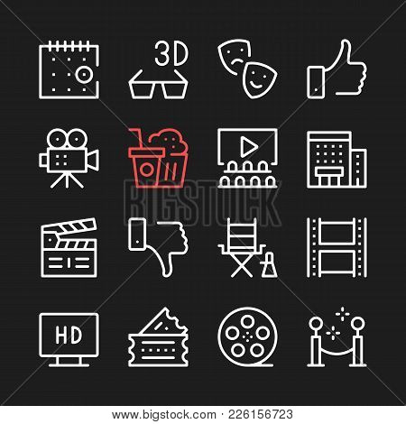 Movie, Film Production Line Icons. Modern Graphic Elements, Simple Outline Thin Line Design Symbols.