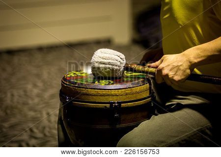 Drummer Performing On African Drum Close Up