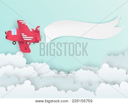 Airplane Aerial View Paper Art With Paper Banner For Text. Flying Origami Red Plane. Blue Sky Backgr