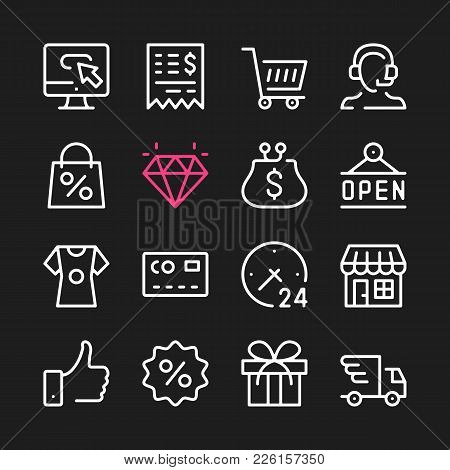 Ecommerce Line Icons. Modern Graphic Elements, Simple Outline Thin Line Design Symbols. Vector Icons