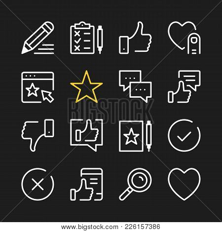 Feedback Line Icons. Modern Graphic Elements, Simple Outline Thin Line Design Symbols. Vector Icons