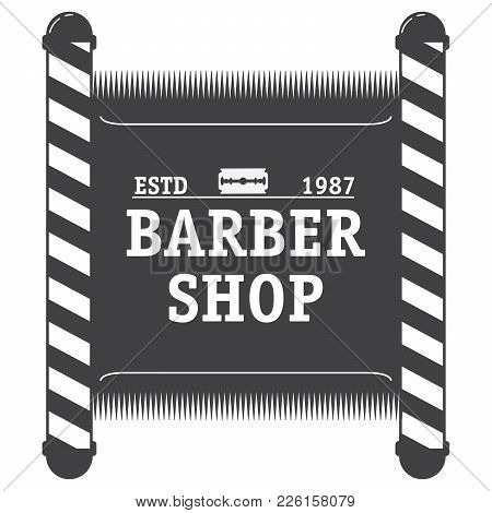 Logo Salon Of Hairdressing Salon With The Text And An Edge Of The Razor. Vintage A Retro Glass  Old