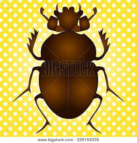 Pop Art Vector Illustration. Egyptian Scarab Beetle. Brown Color On Vintage Background