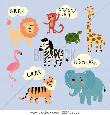 Vector Illustration Of Wild Zoo Exotic Animals That Are Making Sounds . Zebra, Lion, Tiger, Elephant