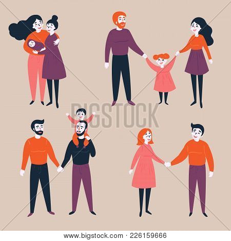 Homosexual lgbt non-traditional and traditional families. Different couples, heterosexual, gay and lesbian with and without baby children. Equality in rights illustration.