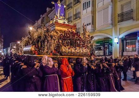 Palencia, Spain - March 25, 2016: Traditional Spanish Holy Week (semana Santa) Procession On Holy Th