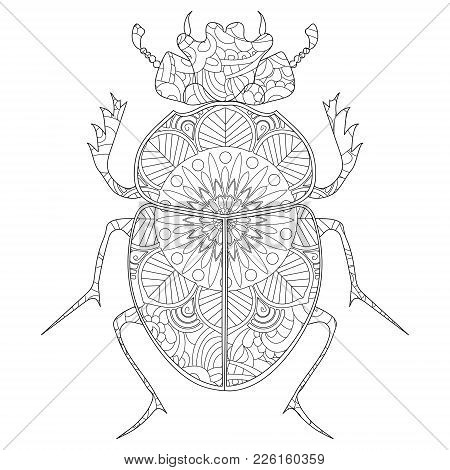 Anti-stress Coloring Book Vector Illustration. Egyptian Scarab Beetle.