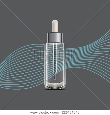 Bottle With Dropper For Oil Or Essence. 3d Realistic Anti Aging Aroma Oil Glass Container For Magazi