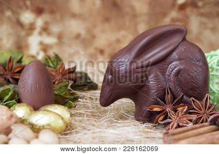 Chocolate Easter Bilby Against A Brown Background. Australian Easter Concept.