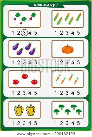Worksheet For Preschool Children, Count The Number Of Objects, Learn The Numbers 1, 2, 3 4 5