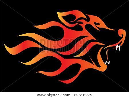 Illustration Profile Wolf On Black