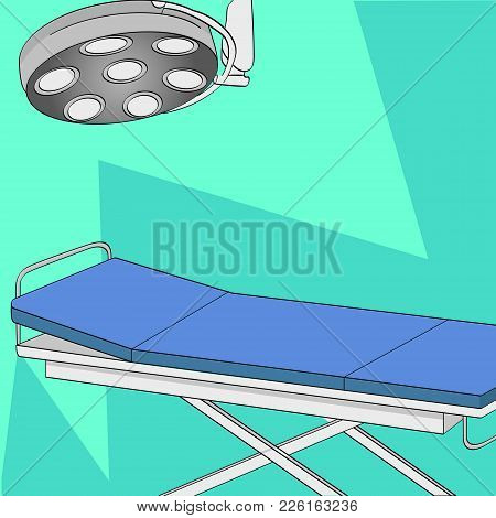 Operating Room. Vector Illustration. Table And Medical Lighting