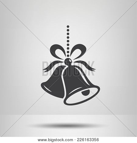 Bell. Christmas, Happy New Year Symbol. Isolated Vector Icon, Sign, Emblem, Pictogram. Flat Style Fo