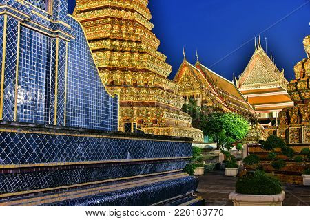 Wat Pho Or Temple Of The Reclining Buddha In Bangkok, Thailand