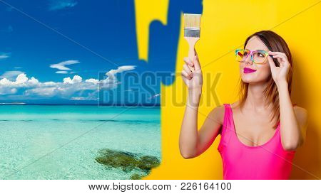 Girl Painting Dreaming Vacation