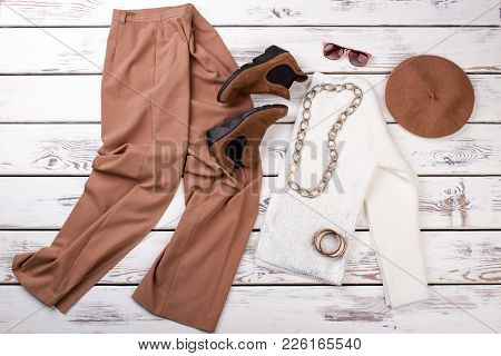Set Of Female Fashion Apparel And Accessories. Women Trendy Trousers, Shoes, Sweater And Beret. Femi