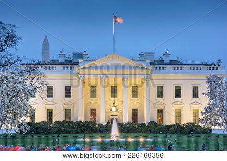 Washington DC, USA White House at dusk.