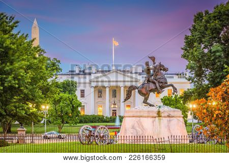 Washington DC, USA White House at dusk.