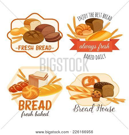 Banner Or Label Witch Bread Products . Rye Bread And Pretzel, Muffin, Pita, Ciabatta And Croissant,