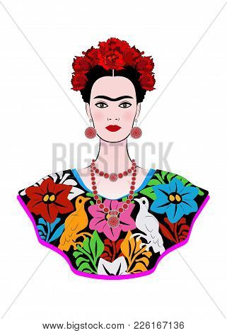 Frida Kahlo Vector Portrait , Young Beautiful Mexican Woman With A Traditional Hairstyle,  Mexican C