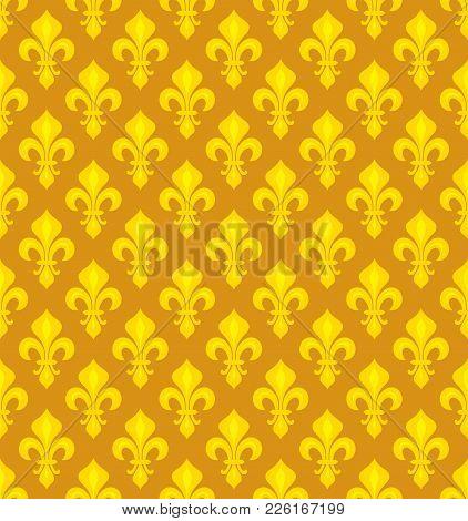 Royal Heraldic Lilies (fleur-de-lis) -- Goldish Seamless Pattern, Wallpaper Background.