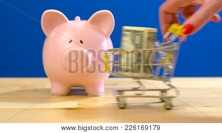 E-commerce Retail Savings Shopping Concept With Miniature Shopping Cart And Piggy Bank