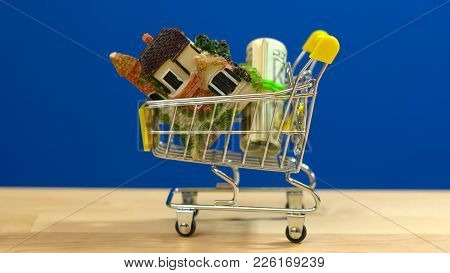 E-commerce Retail Estate Shopping For Houses Concept With Miniature Shopping Cart