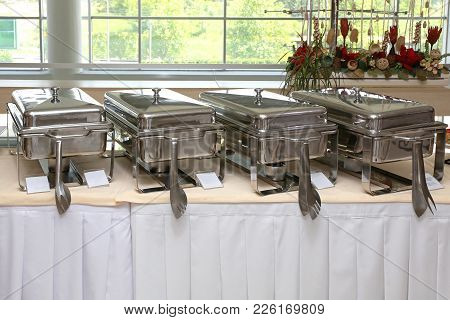 Buffet Table With Stainless Steel Food Warmers