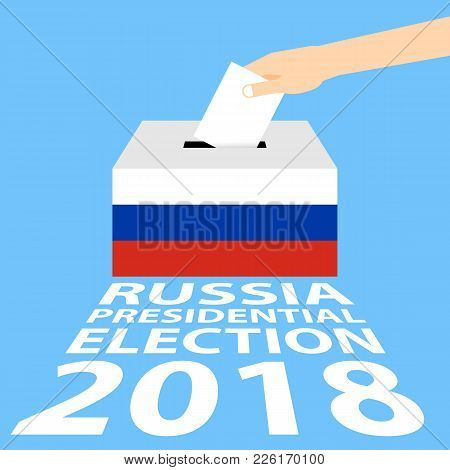 Russian Presidential Election 2018 Vector Illustration Flat Style - Hand Putting Voting Paper In The