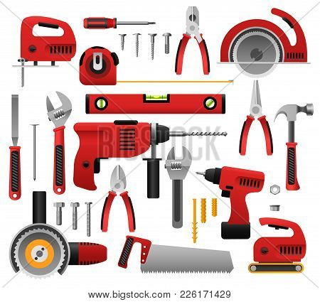 Construction tools. Construct tool icon set with screwdriver and saw, spanner and roulette, hammer and plane vector illustration poster