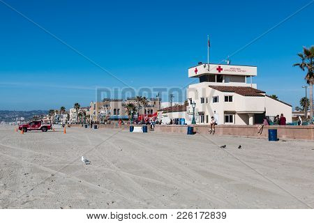 San Diego, California - February 9, 2018:  The Permanent Lifeguard Station On The Mission Beach Boar