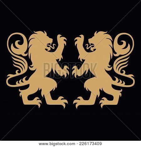 Gold Lion Heraldic Logo Template Vector Design