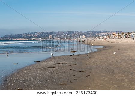 San Diego, California - February 9, 2018:  Mission Beach, At Just Over One Mile In Length, It Is One