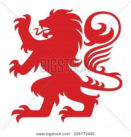 Red Heraldry Lion Logo Mascot Vector Design