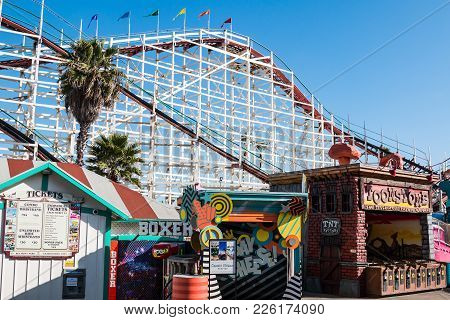 San Diego, California - February 9, 2018:  Midway Games And Ticket Booth At Belmont Park, An Amuseme
