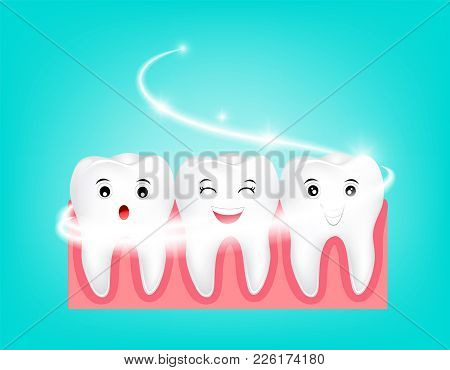 Whitening Tooth Character. Deep Cleaning, Clearing Tooth Process. Dental Health Concept. Oral Care,