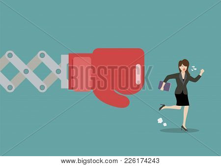 Business Woman Run Away From Big Boxing Glove Hand. Vector Illustration