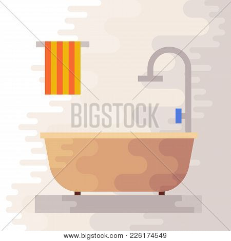 Bathroom Flat Icon. Bath Room Vector Illustration.