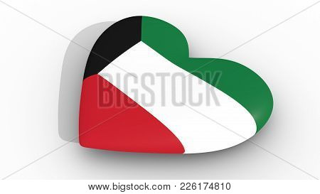 Heart In The Colors Of Kuwait Flag, On A White Background, 3d Rendering Side