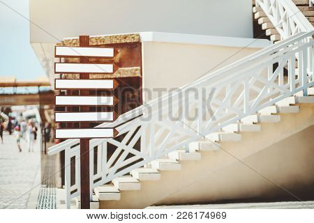 Wooden Street Pointer With Small Empty Banners Mockups On It; Street Advertising Pillar Template Wit