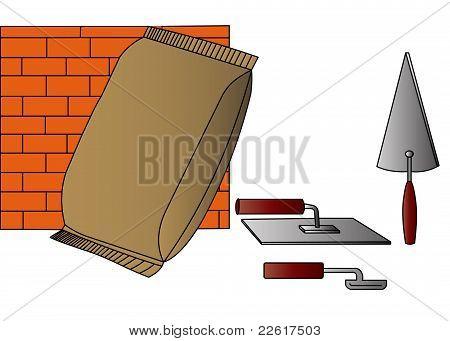 Instrumento y bolso del cemento