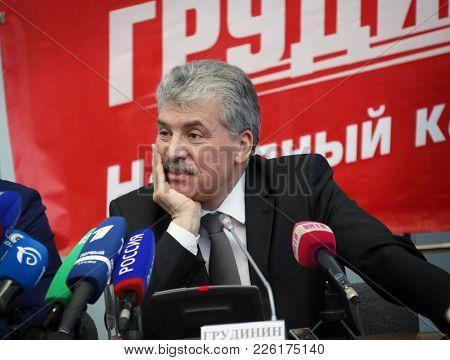 Nizhny Novgorod, Russia February 9, 2018: Pre-election press conference of presidential candidate Pavel Grudinin in Nizhny Novgorod.
