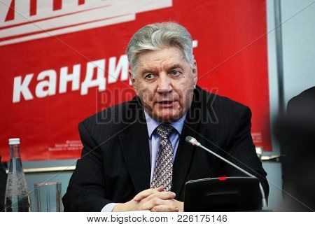 Nizhny Novgorod, Russia February 9, 2018: Pre-election press conference of presidential candidate Pavel Grudinin in Nizhny Novgorod, Victor Alksnis.