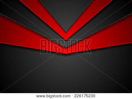 Abstract Corporate Red And Black Hi-tech Contrast Background. Vector Graphic Design Template